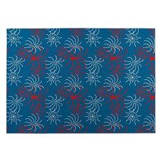 Kavka Designs / White/ Blue Fishing Plaid 2' x 3' Indoor/ Outdoor Floor Mat