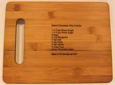 Cute gift idea: bamboo cutting board with laser engraved recipe