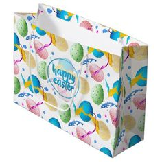 Colorful Easter Eggs and Paint Splash Large Gift Bag - happy easter egg holiday family diy custom personalize