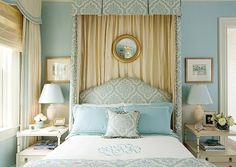 Classic, pretty blue and cream bedroom