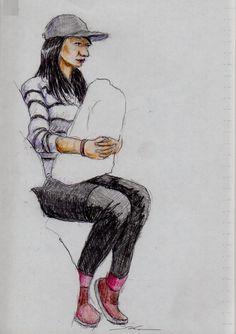 黒いパンツのお姉さん(通勤電車でスケッチ) This is a woman of sketch wearing a black pants and tights. I drew in a commuter train.