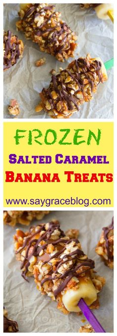 These kid-friendly frozen banana treats get drenched in delicious salted caramel and then covered with crunchy walnuts, almonds, peanuts and ooey-gooey melted chocolate!
