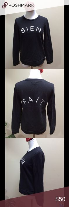 "Madewell Bien Fait Black Crewneck Sweatshirt Med Bien Fait Sweatshirt Size Medium  The much-loved toss-it-on-with-everything sweatshirt, finished with a shrunken shape and a cool graphic touch. (Bien fait, printed across the front and back, means ""made well"" in French.)  The Measurements: Size Medium (would also fit a small) Chest: 38"" Length: 23""  Condition: No signs of wear Madewell Tops Sweatshirts & Hoodies"