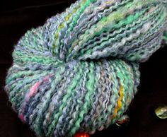 Handspun Yarn Handspun Hand Dyed Yarn,Thick and Thin,Spiral Yarn,Hand dyed wool