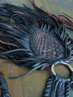 Leather Art, Leather Fringe, Leather Cuffs, Braided Leather, Leather And Lace, Leather Leaf, Leather Weaving, Fringe Necklace, Leather Necklace