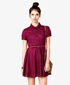 Striped Flare Dress w/ Skinny Belt   FOREVER21 - 2027704390