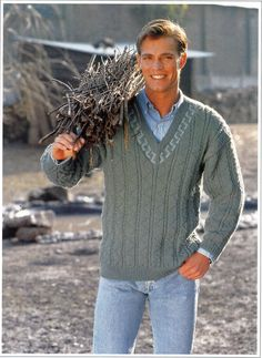 mens v neck cable sweater knitting pattern larger sizes 36-50inch DK mens knitting pattern PDF Instant Download by Hobohooks on Etsy https://www.etsy.com/listing/223230932/mens-v-neck-cable-sweater-knitting