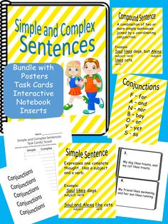 Simple and Complex Sentences Bundle.  Task Cards, Posters, Interactive Notebook Inserts.