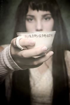 "Soma, somehow this makes me think of ""Leaving.""  Offerings - FREE SHIPPING - Print Girl Tea Cup Eyes Face Focus Holding Cream Pink White Black Soft Portrait Photo Art Surreal Blur"