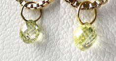 One bead of .35cts NATURAL Canary CONFLICT FREE Diamond 18K GOLD PENDANT 8798DD - Premium Bead