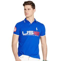 Team USA Polo Ralph Lauren 2016 Olympics Basic Mesh Polo - Royal. Tee Shirts,  Chemise Pour Homme ... 4a3b436f1f58
