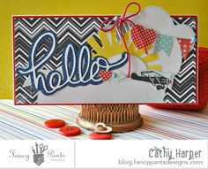 Hello card by Cathy Harper for #fancypantsdesigns using #nautical collection.