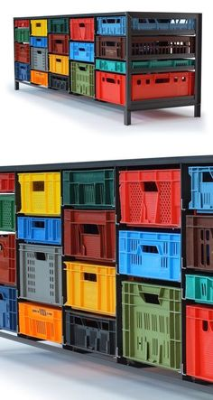 The KRATTENKAST series plays with a simple and straightforward concept: a steel frame, exposed welds, recycled boxes colored plastic. Each model has as a starting point its steel structure which still has the same dimensions. 3 models: 1 column: 10 drawers / H160 x L45 x D60 cm 2 columns: 16 drawers / H125 x L87 x D60 cm 5 columns: 21 drawers / H85 x L212 x D60 cm