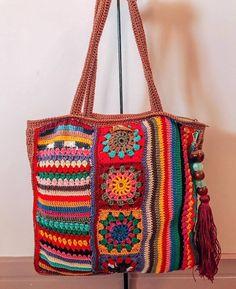 Crochet Stitches Free, Crochet Bags, Beautiful Bags, Diaper Bag, Shoulder Bag, Drink, Wool, Crochet Purses, Good Ideas