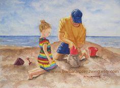 Beach Painting, Beach Family Art, Seashore Watercolor Art, Dad Daughter Sand Castle, Child Nursery Decor, Beach Art Gift, Barbara Rosenzweig