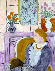 bofransson: Henri Matisse Profil bleu devant la cheminée (Woman in Blue in Front of a Fireplace), 1937