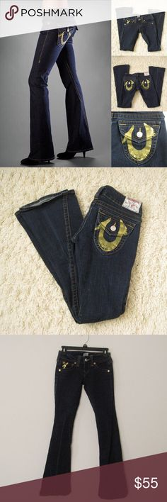 "True Religion Gold Foil Joey Flare Jeans Authentic TRUE RELIGION WN82420MW Joey Gold Foil Flare Denim Jeans. Size 25. Has FADED LINE in the right leg, otherwise in very good condition .                                                    Materials:  98%  Cotton, 2% Spandex Measurements (laying flat): • Waist - 26"" around (actual) • Hips - 16"" • Front Rise - 6.5"" • Back Rise - 10""  • Inseam - 32""  • Length - 38""  • Leg Cuff - 8.5"" ~❌SWAP❌TRADE ~ ✔️❤️Bundles📦💕 ~✔️Smoke-free/pet-free home True…"