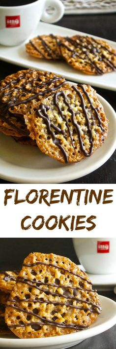 Sometimes called lace cookies, Florentine cookies are made of finely chopped almonds with orange & vanilla, then either dipped or sandwiched with chocolate.