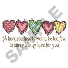 A HUNDRED HEARTS embroidery design