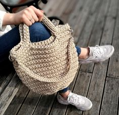 Crochet large summer bag Knitted pouch Rope crochet bag Handmade sack Colored summer pouch Handmade boho bag Tote Beach pouch Macrame bag