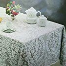"New White Lace Tablecloth. Floral Design. Available in many sizes Round, Oval and Oblong (59"" Round, Beige / Ecru)"