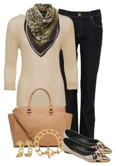 """""""Leopard and Links Scarf"""" by glamatarian ❤ liked on Polyvore featuring A Wear, MICHAEL Michael Kors, Brooks Brothers and Juicy Couture"""