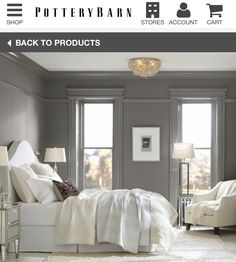 My dream bedroom - I'm obsessed with grey and white! Modern and simple!