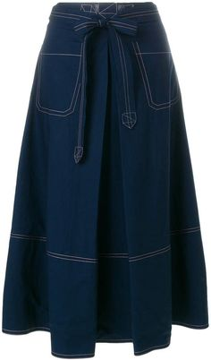 Designer Skater Skirts & Luxe A-Line Skirts Long Denim Skirt Outfit, Skirt Outfits Modest, Velvet Dress Designs, Office Outfits Women, Denim Ideas, Mode Hijab, African Fashion Dresses, Cute Skirts, Vintage Skirt