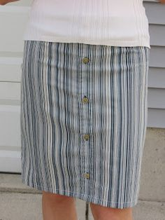 I made a pencil skirt from my husband's old dress shirt! This is the first thing I've actually made from pinterest. I am very pleased with ...
