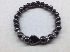 Handmade HEMATITE Bead Bracelet with Heart Gemstone Chakra Healing Balancing