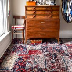 FLOR tiles in Nizhoni Patchwork instead of a costly oriental rug!