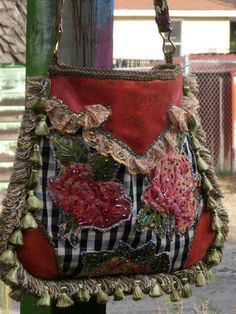 Cowgirl Western Pinup Purse Rodeo Beaded Roses Tooled by Bettohz, SOLD