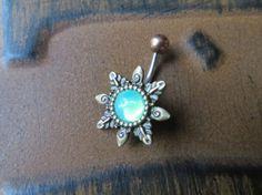 Mint Green Opal Starburst Belly Button Ring Navel Piercing Emerald Bronze Sun Stud Bar Barbell Star Burst