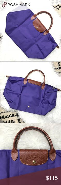 """longchamp • le plige type m short handle tote Size is medium 11.75"""" X 11"""" X 7.75"""" Short handle Nylon Color is Amethyst Brand new with Longchamp sealed care card Official product from Longchamp store Will come with the receipt Selling as it's not my style, given to me as a gift Longchamp Bags Totes"""