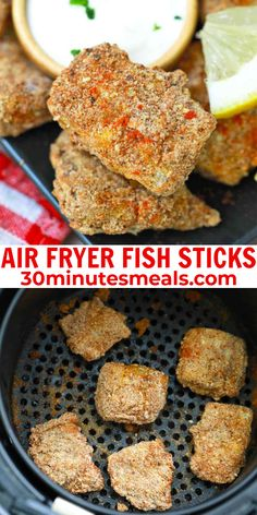 Air Fryer Fish Sticks, aka fish fingers, are covered in herby and garlicky Italian bread crumbs, then air-fried until they have a crunchy crust with perfectly tender fish inside. #airfryer #fishsticks #fish #dinner #30minutesmeals