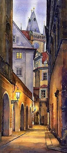 Prague Old Street Painting by Yuriy Shevchuk - Prague Old Street Fine Art Prints and Posters for Sale Old Street, Street Art, Art Watercolor, Watercolor Scenery, Street Painting, Painting Art, Beautiful Paintings, Old Paintings, Abstract Paintings