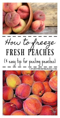 to Freeze Peaches Easy tip for freezing peaches with Fruit Fresh so you can have peaches all winter long for smoothies and your favorite homemade desserts.Easy tip for freezing peaches with Fruit Fresh so you can have peaches all winter long for smoothies Canning Soup Recipes, Pressure Canning Recipes, Canning 101, Freezing Fruit, Freezing Vegetables, Freezing Tomatoes, Veggies, Frozen Fruit, Frozen Meals