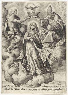 Hieronymus Wierix   Kroning van Maria, Hieronymus Wierix, 1563 - before 1619   Maria wordt in de hemel gekroond door de Drieëenheid, respectievelijk Christus, de Heilige Geest als duif en God de Vader. Christus en God plaatsen gezamelijk de kroon op haar hoofd. In de marge een onderschrift in het Latijn.