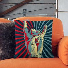 Rock and Roll Pillow  Rock on Hand  Rock n Roll by wfrancisdesign