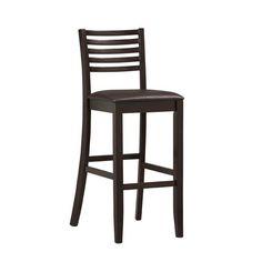 Wood Bar Stool Espresso Ladder Back Dark Brown Plush Vinyl Seat New #Linon