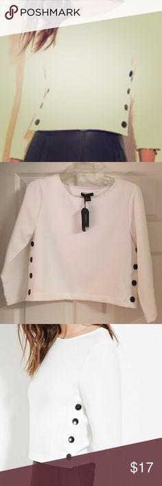 NEW White Boxy Buttoned Side Top New never used boxy white top with medium black buttons on each side. Still with tags. Forever 21 Tops