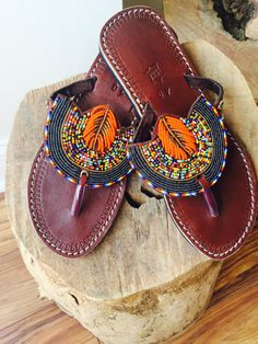 Kenyan Beaded Sandals by ThatLadysCloset on Etsy Beaded Shoes, Beaded Sandals, Cute Shoes, Me Too Shoes, Bare Foot Sandals, Shoes Sandals, Bohemian Sandals, Leather Slippers, African Beads