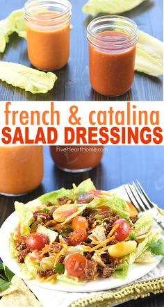 Homemade French + Catalina Salad Dressing Recipes ~ jazz up your favorite salad with a homemade, sweet-and-tangy dressing, in both French and Catalina varieties! Catalina Dressing Recipes, Catalina Salad Dressing, Keto Salad Dressing, Homemade French Dressing, Recipe For French Salad Dressing, Homemade Dressing Recipe, Sweet Salad Dressings, Sauces, Cooking Recipes