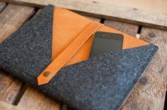 iPad Sleeve Rough Edge leather wool felt by TheNavis on Etsy