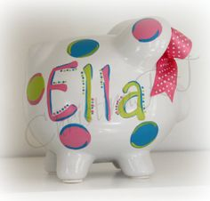 Hand painted personalized polka dot piggy bank funky font boy girl teen baby via Etsy