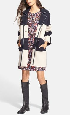Crushing on the sophisticated, urban-chic vibes of this nautical-inspired, striped wool Tory Burch coat.