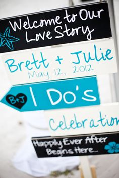 Beach Wedding Signs. Five Customized by OurHobbyToYourHome on Etsy