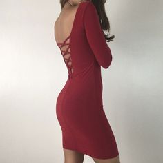 "V- Day ❤️ Red XX Dress S M L A red hot fitted Vday dress- has an incredibly flattering fit and features criss cross open back detailing. Great stretch factor. Fully lined not sheer. The perfect LBD to add to your collection. Size M measures 15"" across chest 33"" in length. 94% Poly 6% Spandex. For size reference I am wearing Size S and 5'3"" * Please do not purchase this listing- Thank you! Dresses Mini"