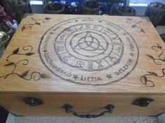 Wooden Altar Box Wheel of the Year Pyrography OOAK  by MaevesBough, $24.99