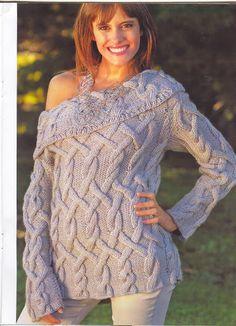 iKnitts: Como tejer un jersey de punto con hombros descubiertos y cuerdas